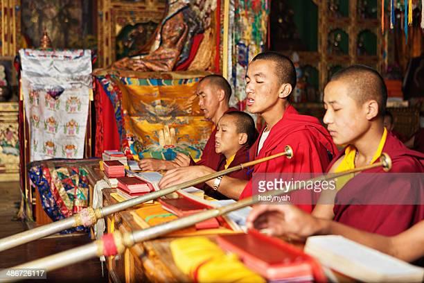 Tibetan monks praying during puja