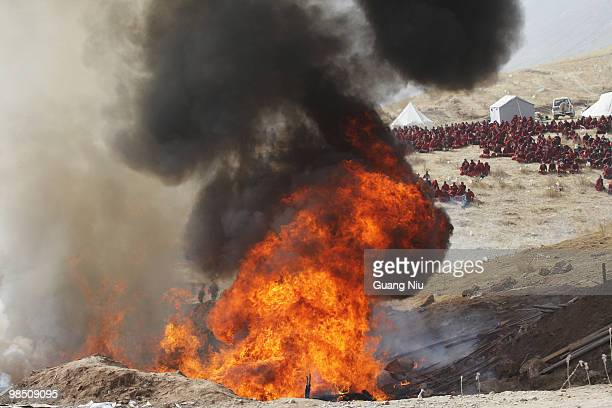 Tibetan monks prepare a mass cremation for the victims of a strong earthquake, on April 17 in Jiegu, near Golmud, China. Current reports state 1144...