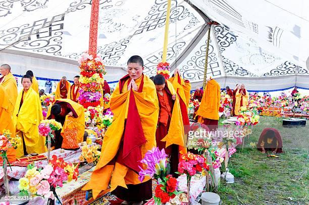 Tibetan nomad celebration at Buddhist flower festival.