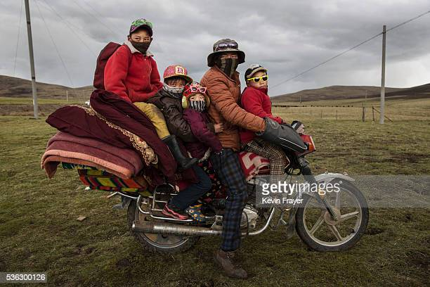 Tibetan nomad family crowds on a motorcycle at a camp for cordycep pickers on May 21 2016 near Sershul on the Tibetan Plateau in the Garze Tibetan...