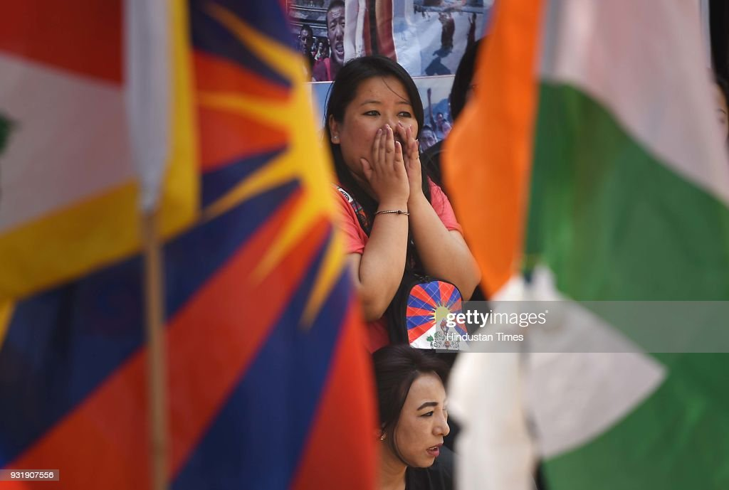 Tibetan people gather for peaceful protest against China government during the 10th Anniversary of Tibetan Uprising at Parliament Street near Jantar Mantar, on March 14, 2018 in New Delhi, India.