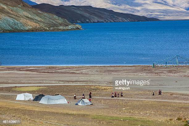 Tibetan people's camp and Lake Manasarovar
