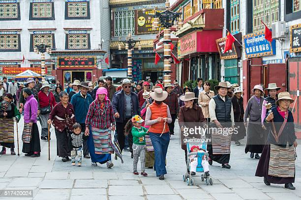 Tibetan pilgrims at the Barkhor in Lhasa, Tibet.
