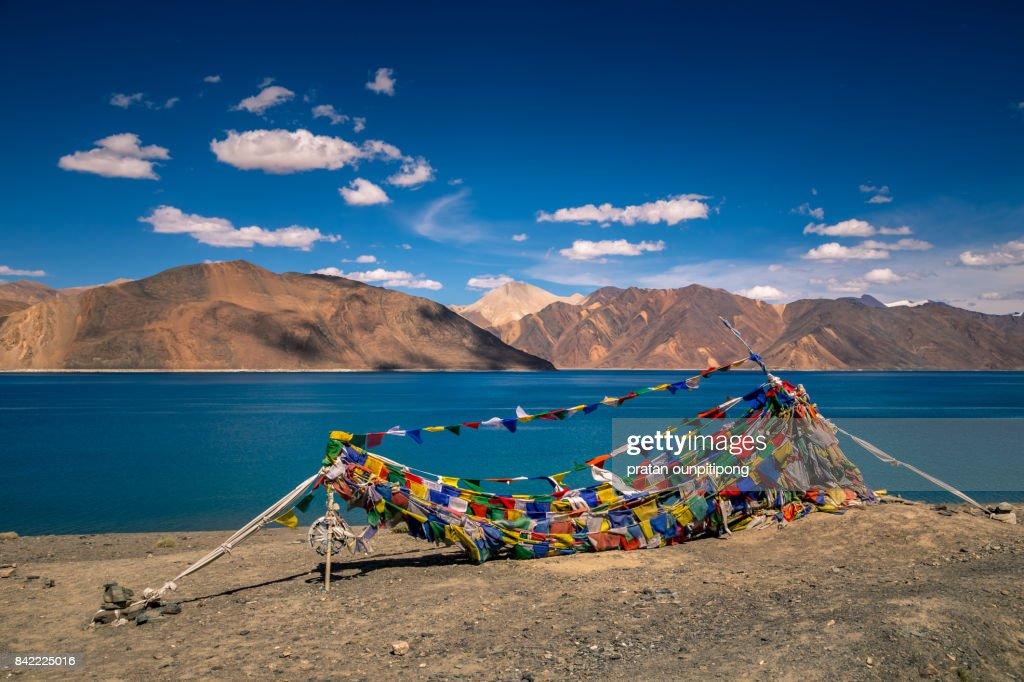 Tibetan Prayer flags at Pangong lake : Stock Photo