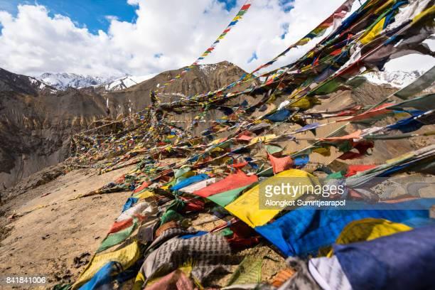 Tibetan prayer flags on the top of lamayuru monastery, Leh Ladakh, India. (moonland)