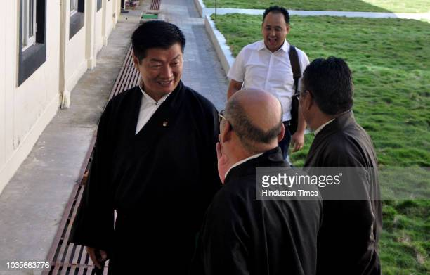 Tibetan Prime Ministerinexile Lobsang Sangay along with other ministers during the 6th session of 16th Tibetan ParliamentinExile at Tibetan...