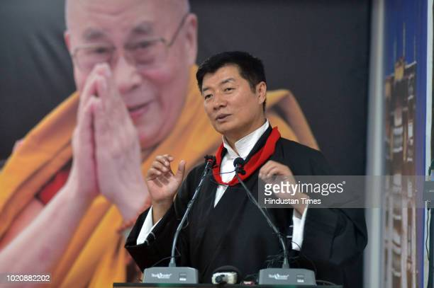 Tibetan Prime minister in exile Lobsang Sangay during the 4th Young Tibetan Research Scholars Conference at Tibetan reception centre in Khanyara on...