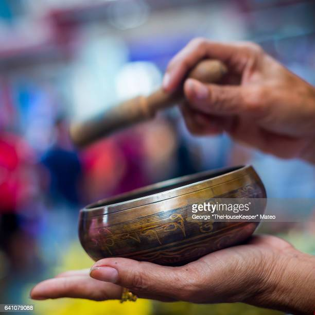 tibetan singing bowl (5080) - gong stock photos and pictures