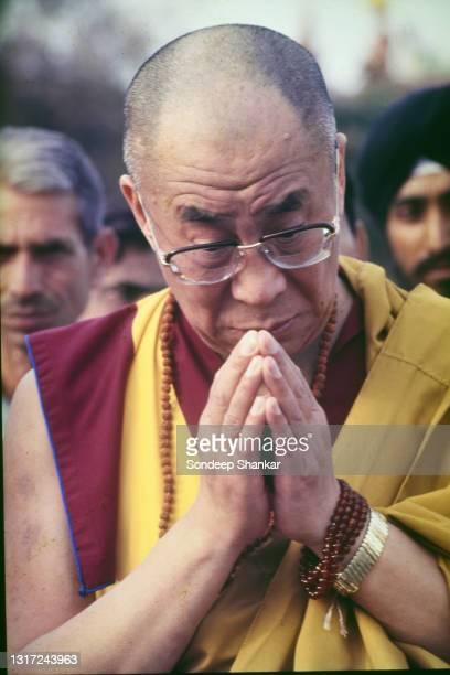 Tibetan spiritual leader Dalai Lama celebrates his 60th birthday with prayers at Rajghat, the memorial for Mahatama Gandhi, in New Delhi, India on...