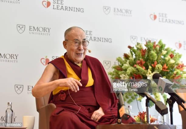 Tibetan spiritual leader Dalai Lama during a press conference at Hotel Andaz, in Aerocity, on April 4, 2019 in New Delhi, India. The Dalai Lama...