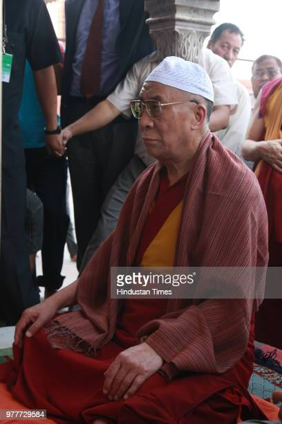 Tibetan spiritual leader Dalai Lama during the prayer at Jama Masjid Mosque on June 1 in New Delhi India The Dalai Lama during an international...
