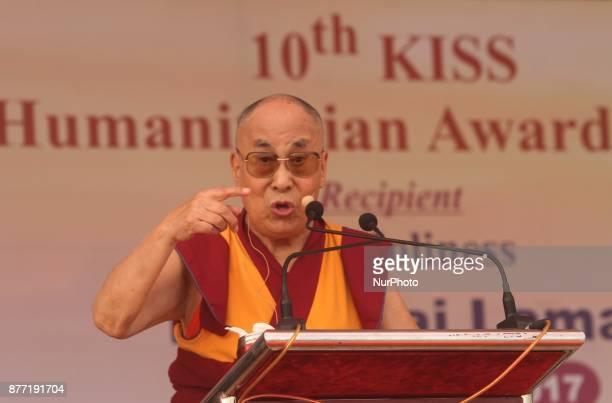 Tibetan spiritual leader Dalai Lama looks at the KIIT Deemed University as he receives KISS Humanitarian Award2017 in the eastern Indian state...