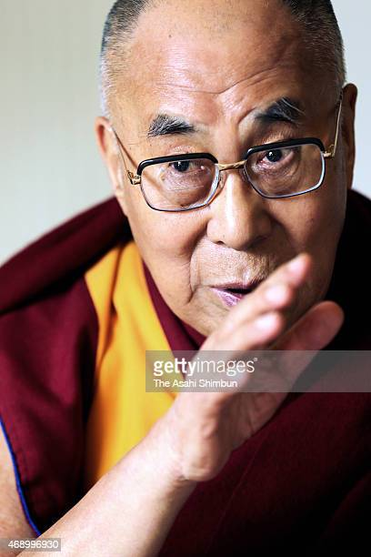 Tibetan spiritual leader Dalai Lama speaks during the Asahi Shimbun interview at a hotel on April 8 2015 in Gifu Japan The Dalai Lama described...