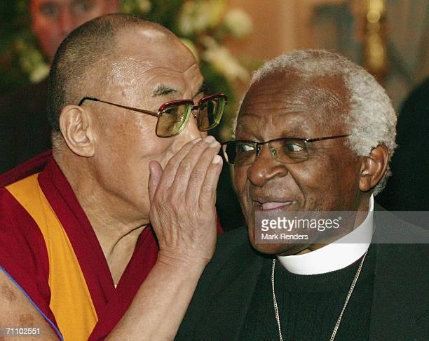 Tibetan spiritual leader Dalai Lama speaks with the Archbishop Desmond Tutu visit the Concert Noble Building on June 1 2006 in Brussels Belgium Dalai...