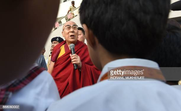 Tibetan spiritual leader Tenzin Gyatso the 14th Dalai Lama addresses to school students after arriving for a private teaching and talk session in...