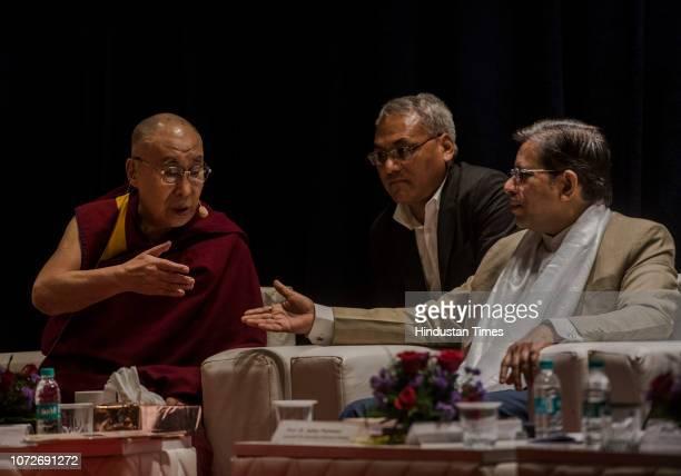 Tibetan spiritual leader The 14th Dalai Lama and Mumbai University ViceChancellor Suhas Pednekar at the 11th Silver Lecture at Guru Nanak College...