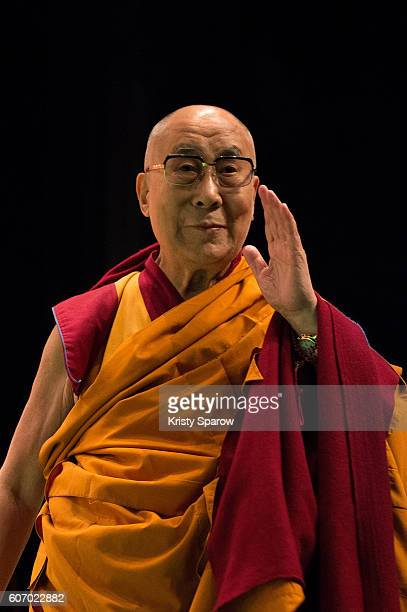Tibetan Spiritual Leader the 14th Dalai Lama speaks on stage to give a Buddhist teaching at the Le Zenith on September 17 2016 in Strasbourg France...