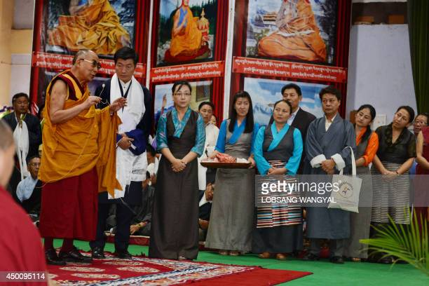 Tibetan spiritual leader the Dalai Lama accompanied by Sikyong Lobsang Sangay the prime minister and Dicki Chhoyang the Minister of Department of...
