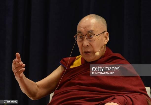 Tibetan spiritual leader the Dalai Lama addresses a seminar on 'The Concept of Maitri in Buddhism' in Mumbai on December 12, 2018. - The Dalai Lama...