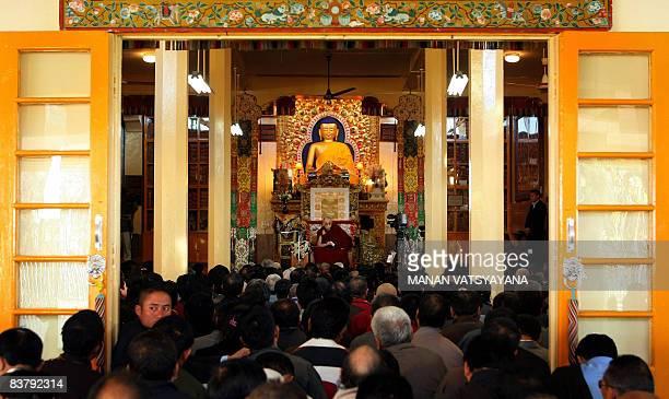 Tibetan spiritual leader the Dalai Lama addresses Tibetan inexile delegates at his palace temple in Dharamsala on November 23 2008 The Dalai Lama...