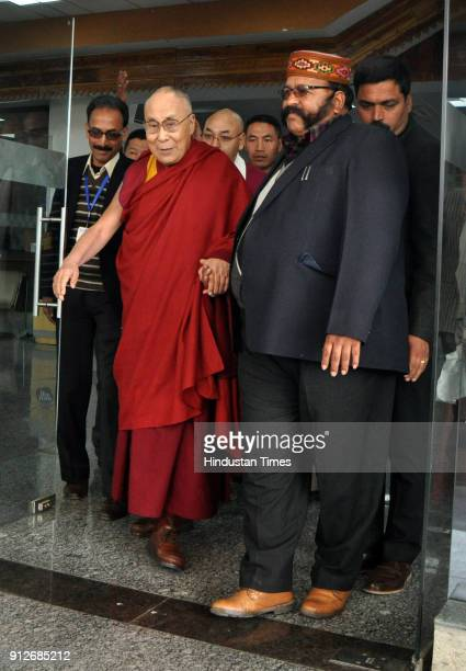 Tibetan Spiritual leader the Dalai Lama arrives at Gaggal airport after a 2 month long tour across India on January 31 2018 near Dharamsala India