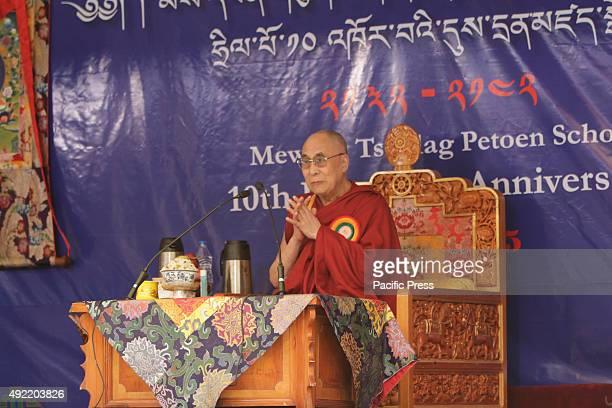 Tibetan Spiritual leader the Dalai lama during the celebration of 10th founding anniversary of Mewoen Tsuklag Petoen School
