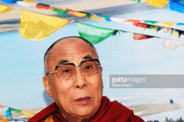 Tibetan spiritual leader the Dalai Lama gives a press conference at International Airport Schiphol in Amsterdam, Netherlands on 10 May, 2014.