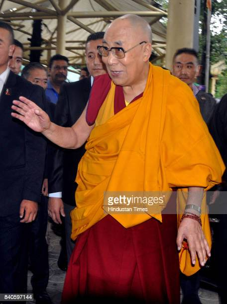 Tibetan spiritual leader the Dalai Lama greets devotees as he arrives at the Tsuglakhang Temple on August 29 2017 in Dharamsala India The Tibetan...