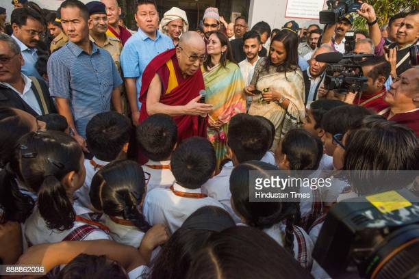 Tibetan spiritual leader the Dalai Lama interacts with students of Class 5 to 10 and enlightened them about the importance of modern education along...