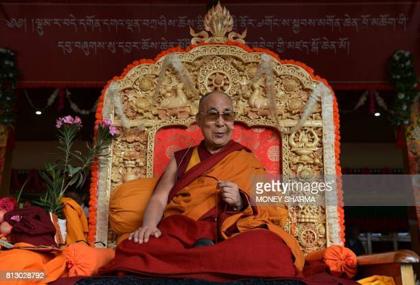 Tibetan spiritual leader the Dalai Lama sits for his teachings during the 'Degon Yarchos Chenmo 2017' at the Diskit monastery in the Nubra Valley in...