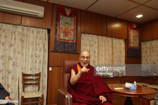 Tibetan spiritual leader the Dalai Lama speaks during the launch of the book 'Gandhi and Health @150' which the Dalai Lama released at Mcleod Ganj on...