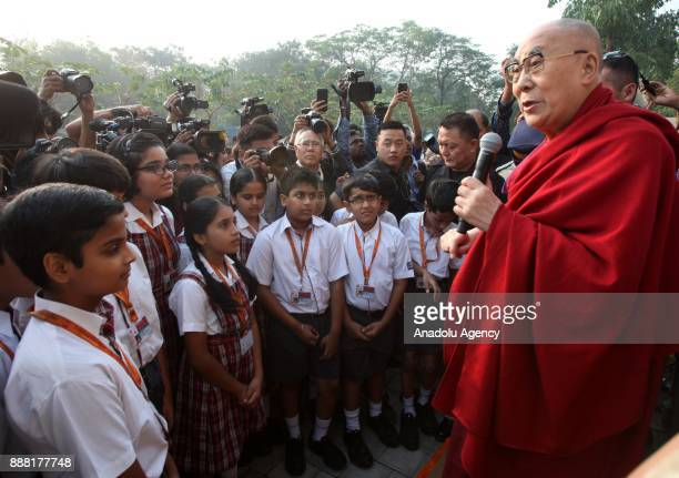 Tibetan spiritual leader the Dalai Lama speaks to students in Mumbai India December 8 2017