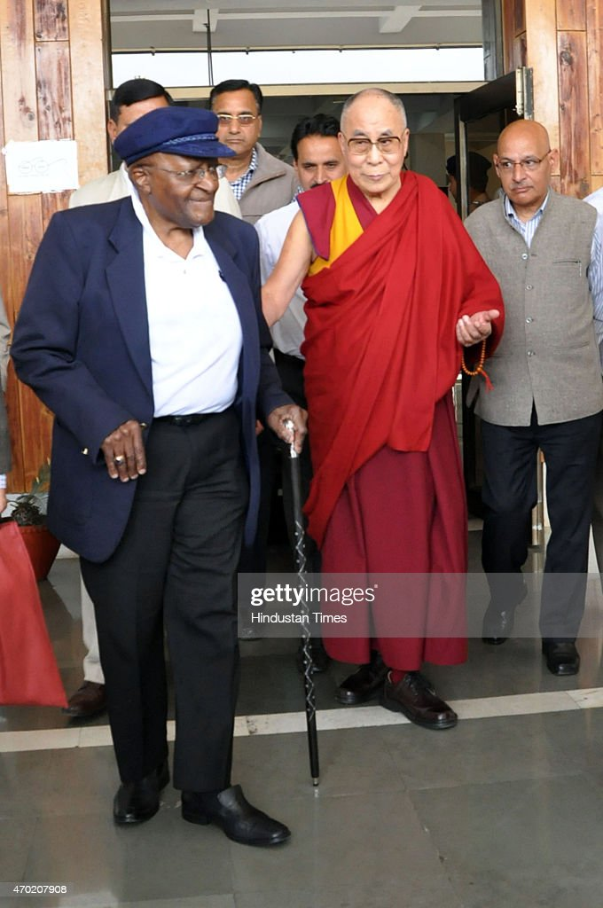 Tibetan Spiritual Leader The Dalai Lama together with South African social rights activist Archbishop Desmond Tutu on his arrival at the start of a...