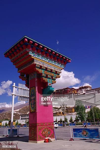 Tibetan Square Pillars in the Potala Palace Square