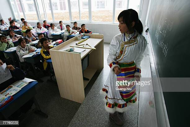 Tibetan student from the mountain regions studies at an experimental school on November 7 2007 in Chengdu capital of Southwest China's Sichuan...