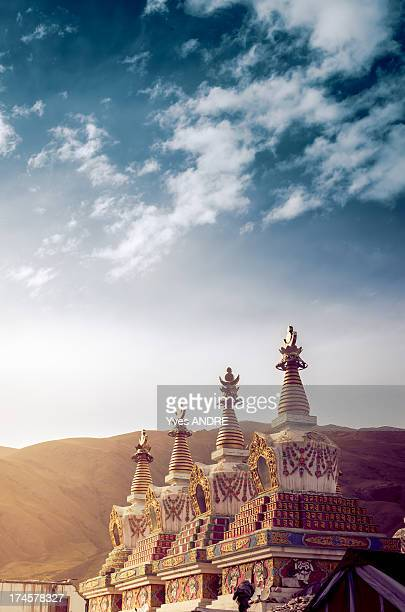 tibetan stupa in a buddhist temple - qinghai province stock photos and pictures