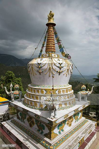 A Tibetan Stupa On The Grounds Of The Tsuglagkhang Complex Which Is The Dalai Lamas Residence In Exile In Mcleod Gang Dharamsala India