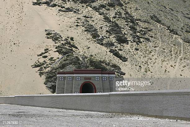 Tibetan style exit of a railroad tunnel near the Lhasa Railway Station which is the terminal station of the QinghaiTibet Railway on June 26 2006 in...