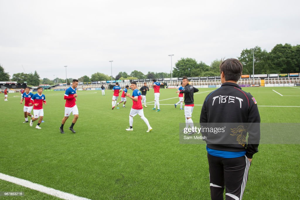 Tibetan team warming up during the London Turkish All-Stars Vs Tibet during the Conifa Paddy Power World Football Cup Placement Match A on the 5th June 2018 at Bromley in the United Kingdom. London Turkish All-Stars 4 Tibet 0. Tibet were due to play Ellan Vannin, although Ellan Vannin were withdrawn by CONIFA. Ellan Vannins withdrawal comes following a vote of the tournament management committee on Monday 4 June, which rejected a challenge by Ellan Vannin to the eligibility of a Barawa player. The CONIFA World Football Cup is an international football tournament organised by CONIFA, an umbrella association for states, minorities, stateless peoples and regions unaffiliated with FIFA.