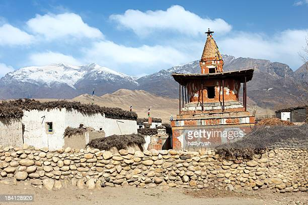 Tibetan village in Himalayan mountains. Mustang, Nepal.
