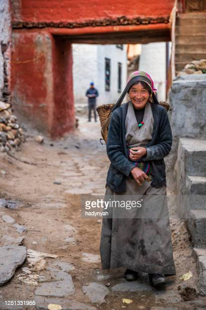 tibetan woman carrying basket, upper mustang, nepal - nepalese ethnicity stock pictures, royalty-free photos & images
