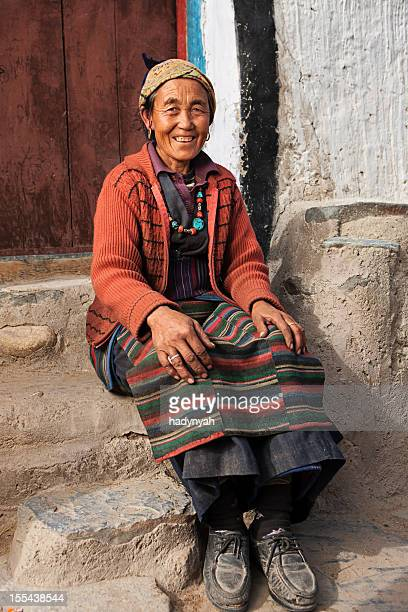 tibetan woman, mustang - lo manthang stock pictures, royalty-free photos & images