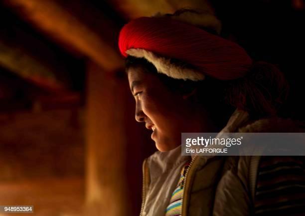 Tibetan woman, zhongdian, yunnan province, China on June 10, 2007 in Zhongdian, China.