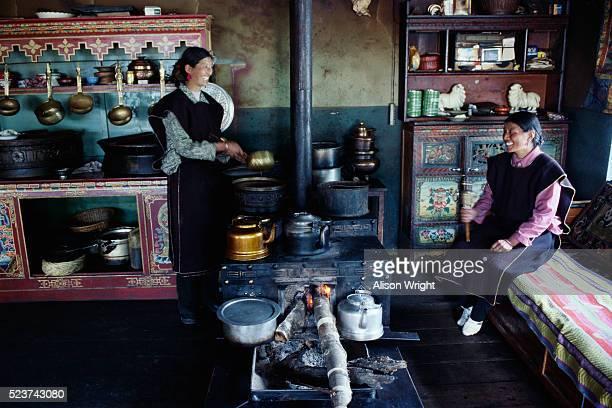Tibetan Women in Their Kitchen