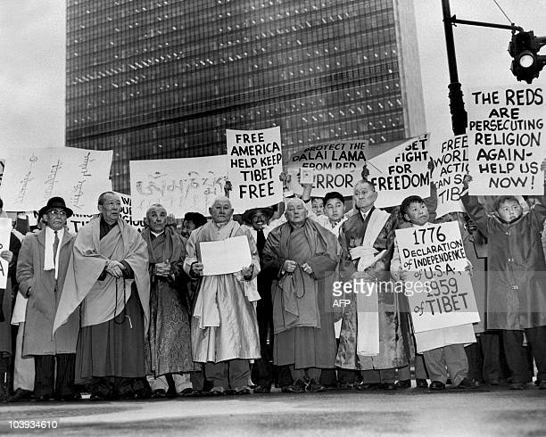 Tibetans demonstrate in front of the United Nations headquarters on March 31 1959 in NewYork to support Tibetan people The 1959 Tibetan uprising or...