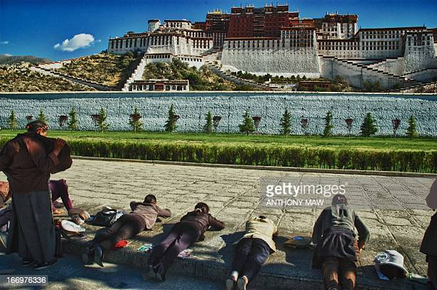 CONTENT] Tibetans prostrating in front of the Potala Palace in Lhasa in the morning one of the most holy places in Tibetan Buddhism because it is the...