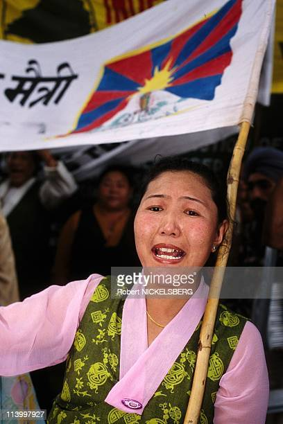 Tibetans Protest Chinese Occupation on 39th Anniversary of 1959 Uprise In New Delhi, India On March 12, 1998.