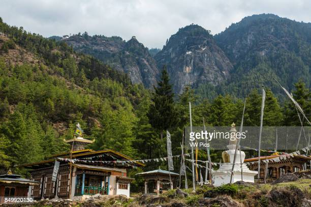 Tibetanstyle stupa and temple below the Tiger's Nest The Tiger's Nest Monastery or Taktsang Goemba is a Himalayan Bhuddist monastery perched on sheer...