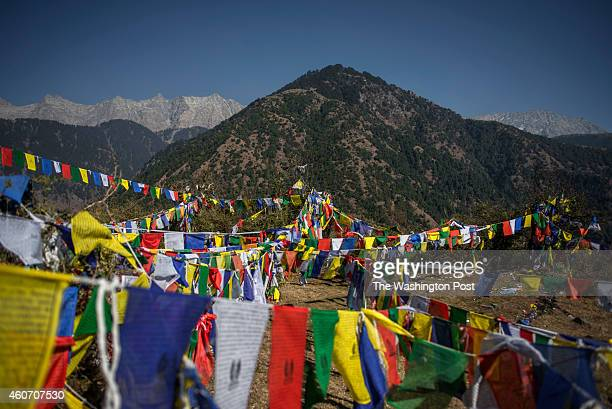 Tibetian Buddhist prayer flags found high on top of Dharamkot above on a lonely spot surrunded by the Dauladhar Range of Himalays People often come...