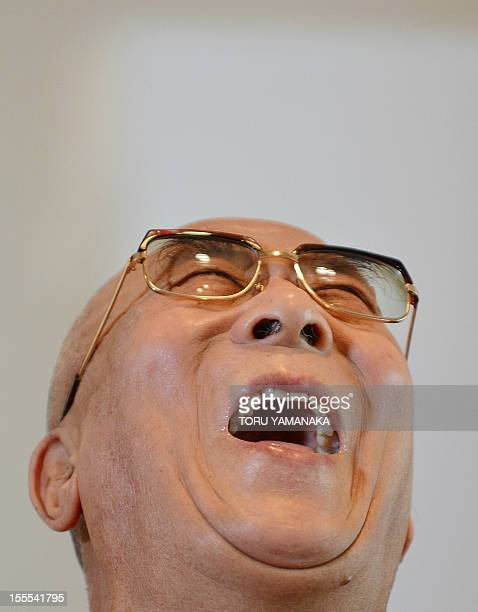 Tibet's spiritual leader Dalai Lama gestures as he answers questions during a press conference in Yokohama suburban Tokyo on November 5 2012 The...